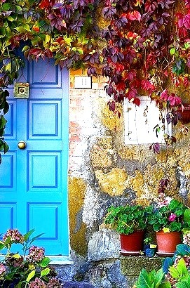 Blue Door, Tuscany, Italy