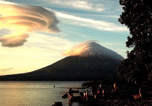 by marc_guitard on Flickr.Ometepe Island and volcan Concepcion covered in clouds, Nicaragua.