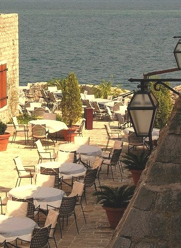 Terrace on the coast in Budva, Montenegro ).