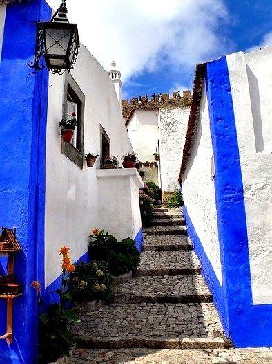 Stone paved stairway street at Obidos, District of Leiria, Portugal
