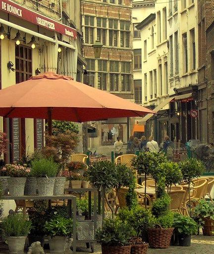 Streetside cafe in Antwerp, Flanders, Belgium