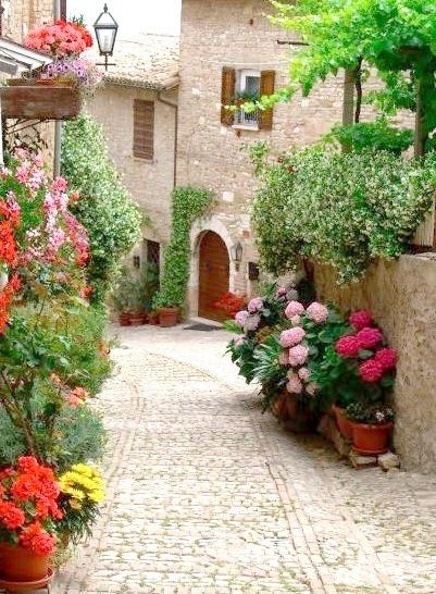 Cobblestone Street, Montefalco, Italy