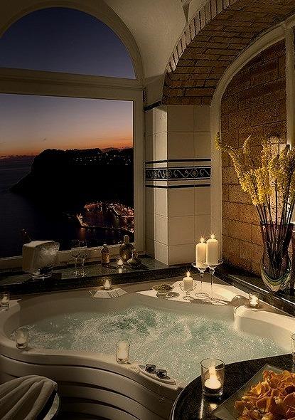 Tiberio suite bathroom at Hotel Caesar Augustus, Capri, Italy