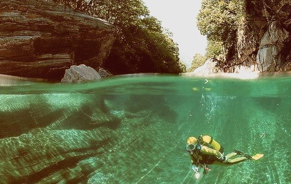 Scuba Diving in a freshwater river, Verzasca Valley, Switzerland