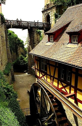 Old watermill near the city walls of Meersburg, southern Germany