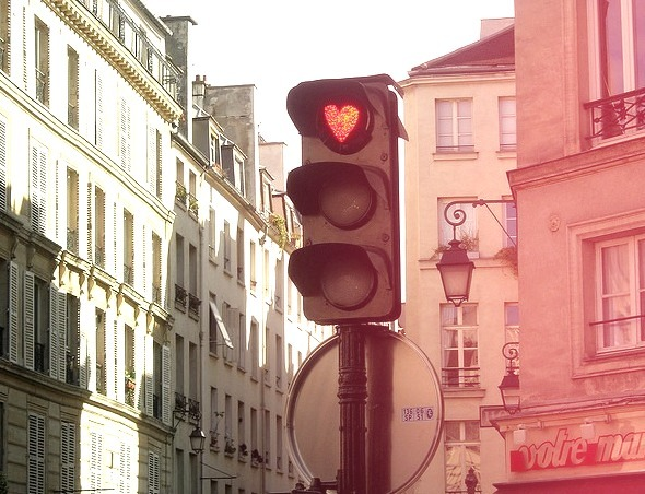 Even the traffic lights are romantic in Paris, France
