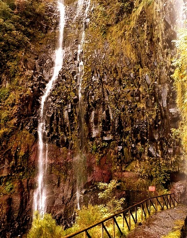 Levada walk at Cascata do Risco in Madeira Island, Portugal