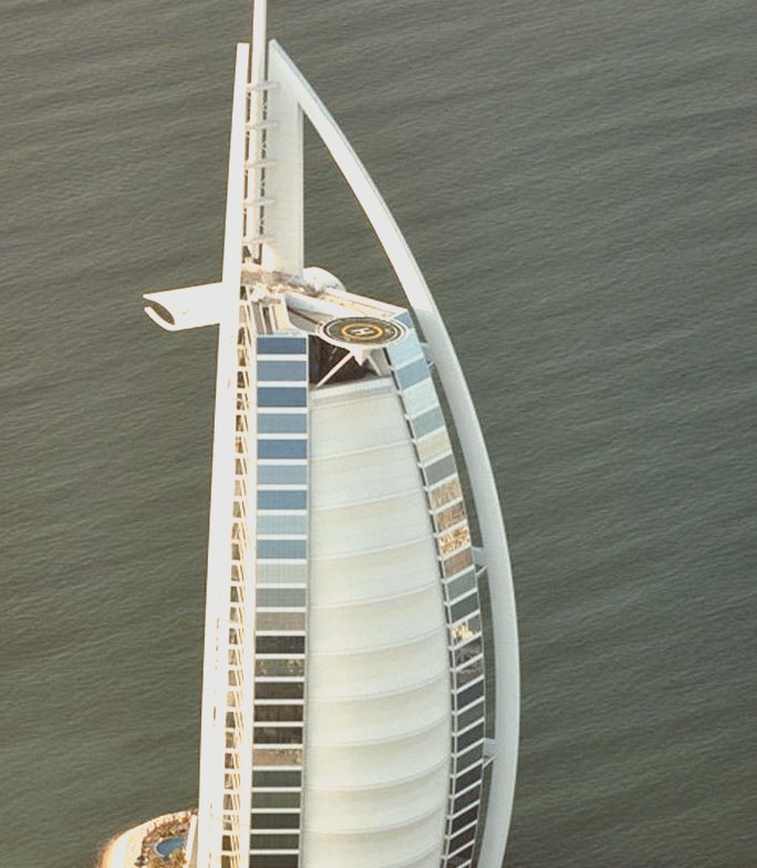 Burj Al-Arab Hotel aerial view in Dubai, United Arab Emirates.