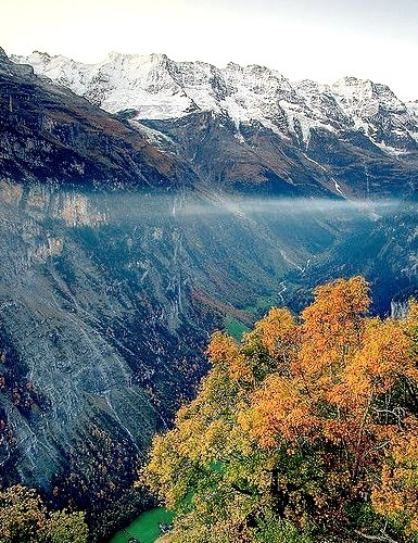 Looking south up the Lauterbrunnen valley in the Bernese Oberland, Switzerland