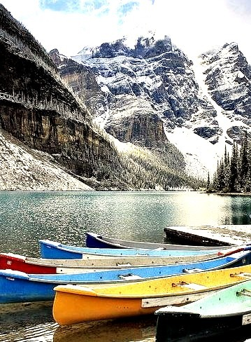 Winter season at Moraine Lake in Banff National Park, Canada