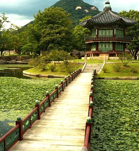 Bridge to Hyangwonjeong Pavilion in Seoul, South Korea