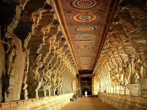 Inside the Ramanathaswamy Temple in Rameswaram, India