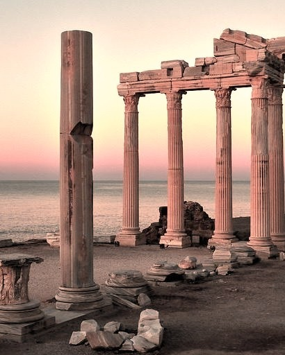 The ruins of the Temple of Apollo at Side, Antalya, Turkey